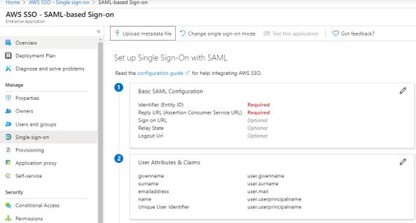 SAML Configuration Menu