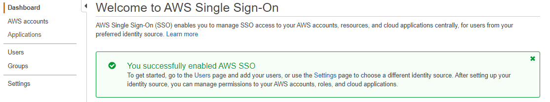 Screenshot of AWS SSO successfully enabled page