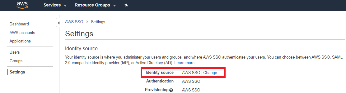AWS SSO Settings