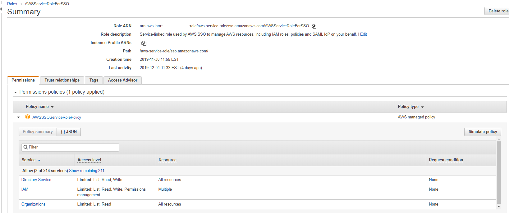 Screenshot of AWS SSO IAM Role