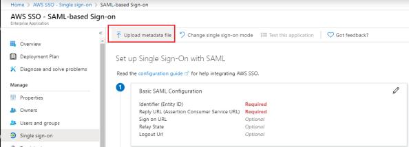 Uploading AWS federation metadata